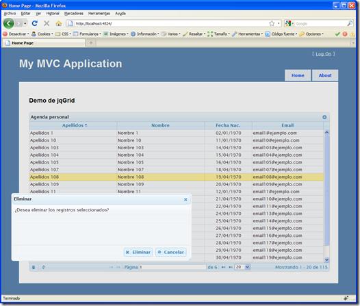 Borrado de registros con jqGrid y ASP NET MVC | Variable not found