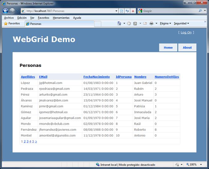 WebGrid en ejecución