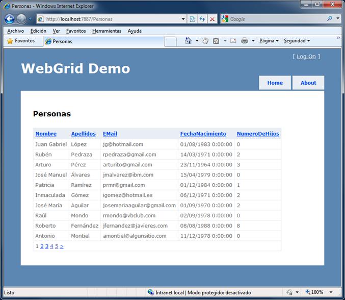 Web grid en ejecución, con mis columnas