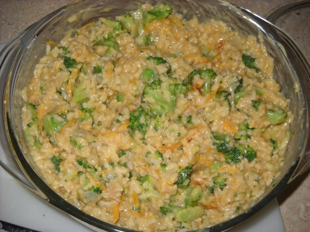 mix in rice and cheese