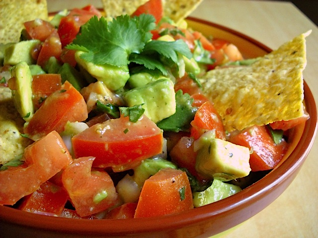 Guacamole Salad in bowl with tortilla chips