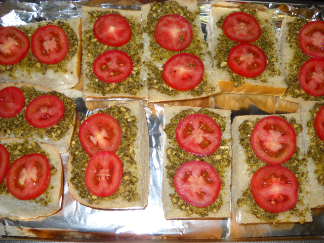 pesto and tomatoes
