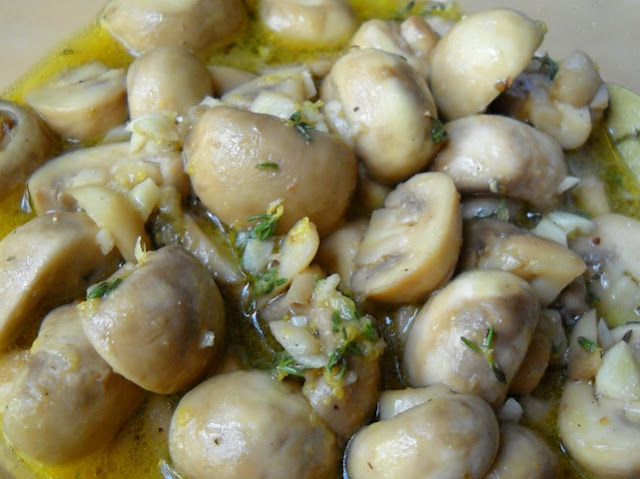 marinated mushrooms close