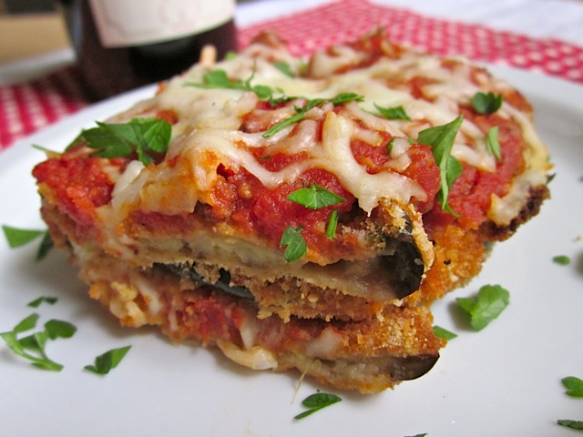 Eggplant Parmesan on white plate