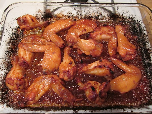 broiled wings in pan
