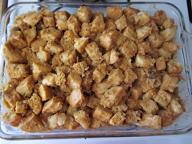 stirred mixture in baking pan ready to bake