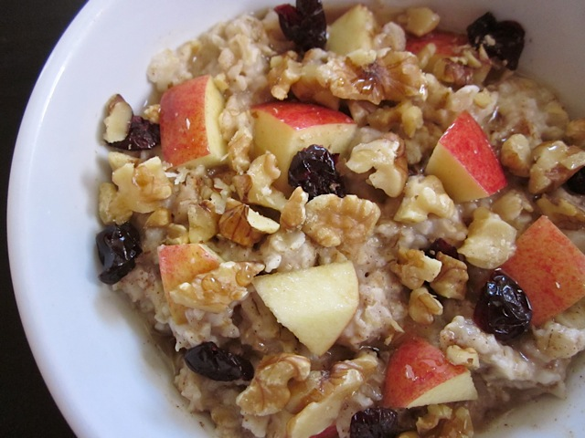 Autumn Fruit and Nut Oatmeal in white bowl