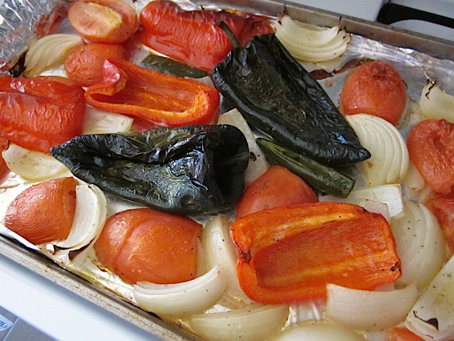 roasted vegetables on baking sheet