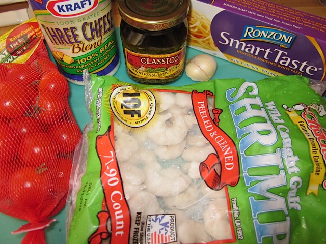 pesto shrimp pasta ingredients on counter