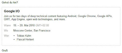 Google Mail: Einladungen