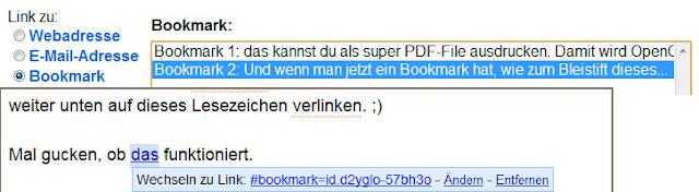Google Docs: Link zu einem Bookmark