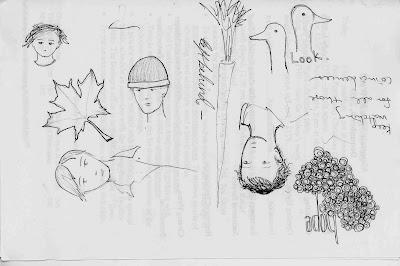 maple leaf, portraits, scribbles