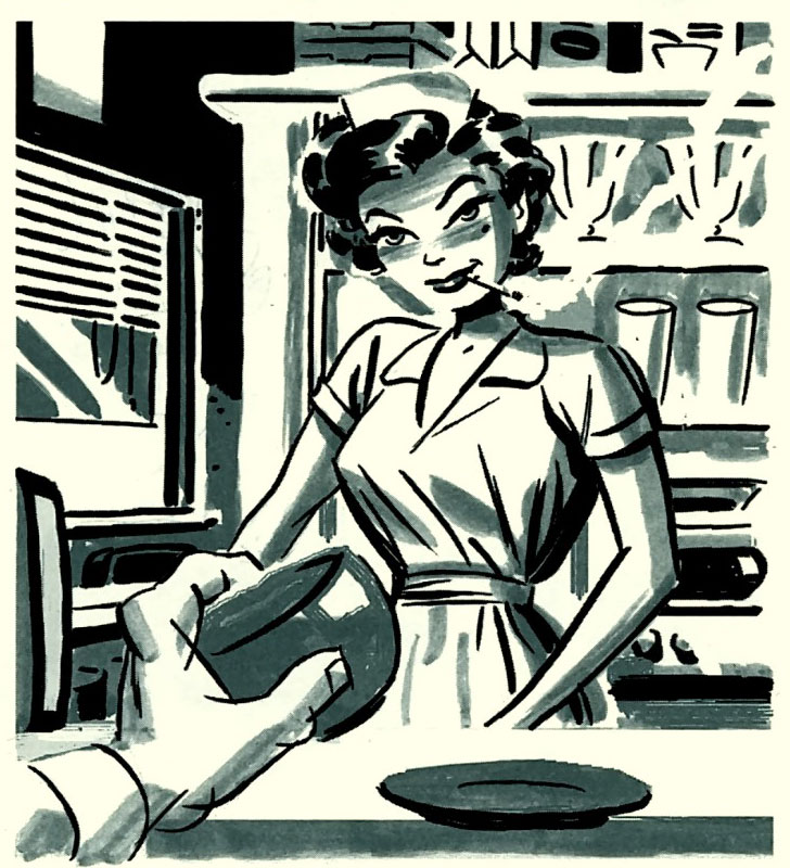 Pretty diner waitress flirts with Parker