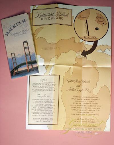 Michigan Map Wedding Invitations