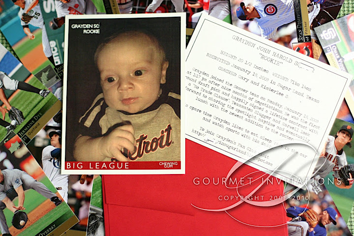 In Another Moment Of Inspiration I Got The Idea To Do Announcements As Vintage Baseball Cards Complete With A Stick Gum