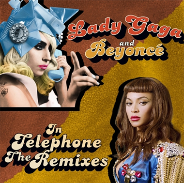 Lady Gaga's single cover art for 'Telephone'