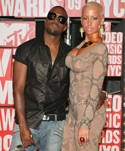 Kanye West & Amber Rose on the red carpet at the VMA's [image courtesy of Getty images and MTV]