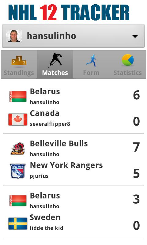 NHL 12 Tracker - screenshot