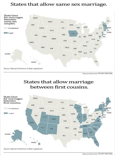 Same Sex Marriage vs First Cousins by State