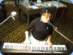"Carole Littlejohn crooning away for us on the Clavinova. Her final number of 'The Black and White Rag"" was a show stopper."