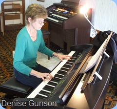 New Member, Denise Gunson, trying out the touch and feel of our Clavinova whilst entertaining us royally with her lovely play