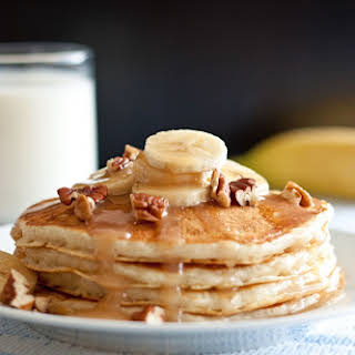 Banana Bread Pancakes with Cinnamon Cream Cheese Syrup.
