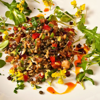 Early Spring Salad of Lentils & Farro with Chorizo, Bell Peppers & Baby Greens