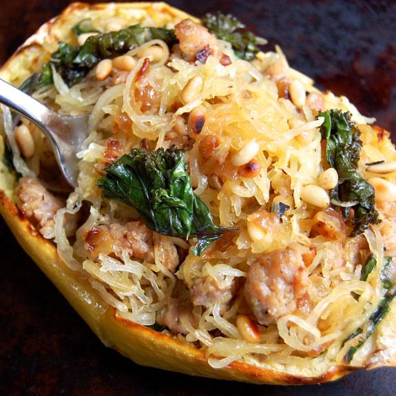Sausage, Kale, and Spaghetti Squash Boats Recipe