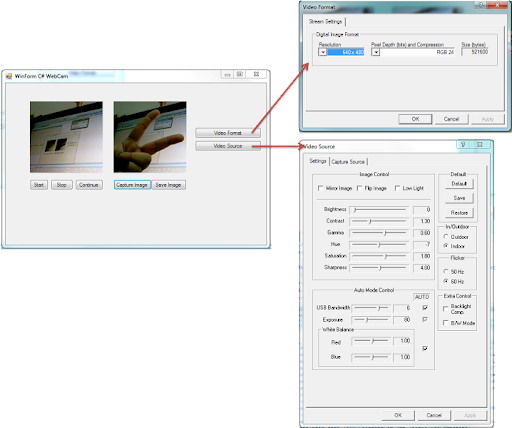 WinForm with C# for show video from webcam and image