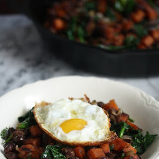 Mexican Sweet Potato Hash with Black Beans and Spinach