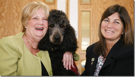 Former Mayor of Cheshire East Council and Judi Jenning President of the Cheshire Fire and Rescue W.I who joined forces to raise £11,000 which allowed two dogs including Annie to be trained for the charity Hearing Dog for Deaf People