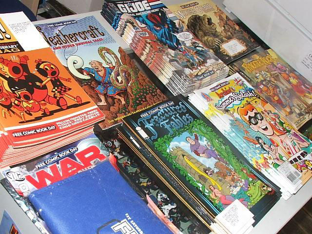 The Free Comics on offer at Free Comic Book Day at First Age Comics, Lancaster