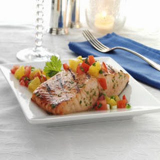 Grilled Salmon With Citrus-tomato Salsa.