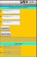 Screenshot of Ecuaciones de segundo grado