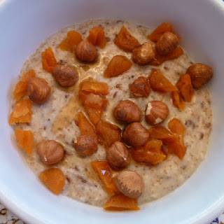 Scottish Oatmeal Breakfast with Teff Grain and Flax Seeds.