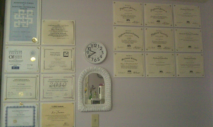 Emerald Isle NC - Best Massage Therapist - Wall of Certificates