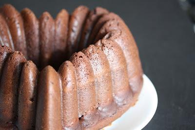 close-up photo of a Sour Cream Chocolate Bundt Cake