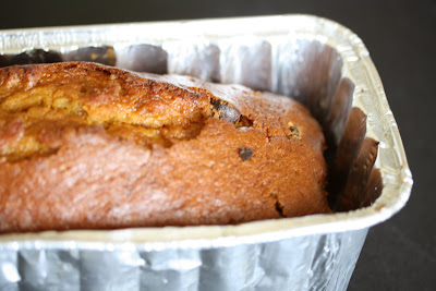 close-up photo of Chocolate chip pumpkin bread in a pan