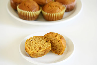 photo of a sliced pumpkin muffin on a plate
