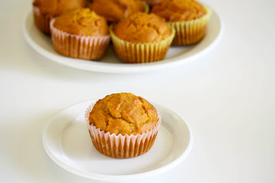 photo of one pumpkin muffin on a plate