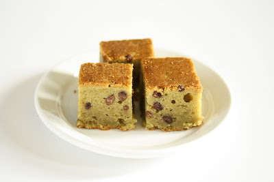 Green Tea Mochi Cake with Red Beans