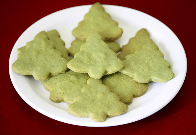 photo of tree-shaped green tea shortbread cookies on a plate