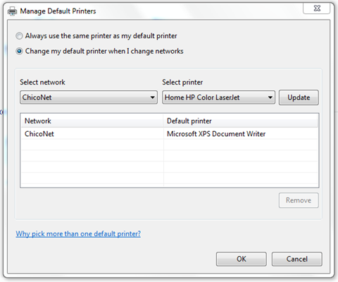 Manage Default Printers