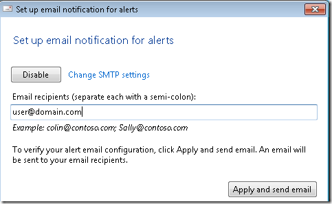 Set up email notification for alerts