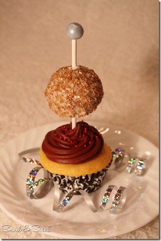 gold ball drop cupcake