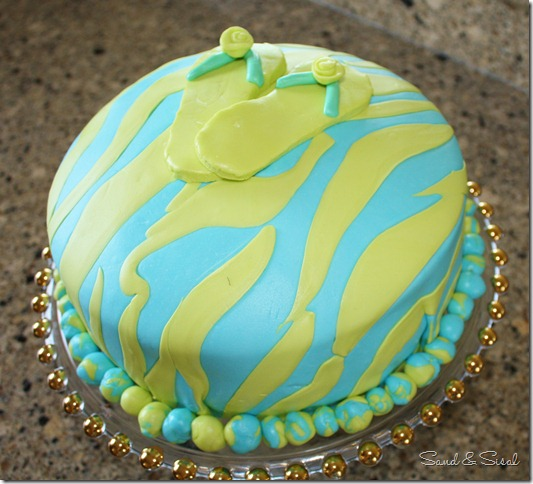 zebra flip flop cake