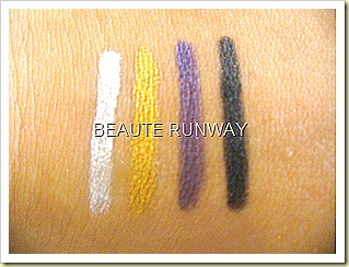 L'Oreal HIP Chrome Eye liners Swatches gold charge, silver lightening Violet volt, black shock