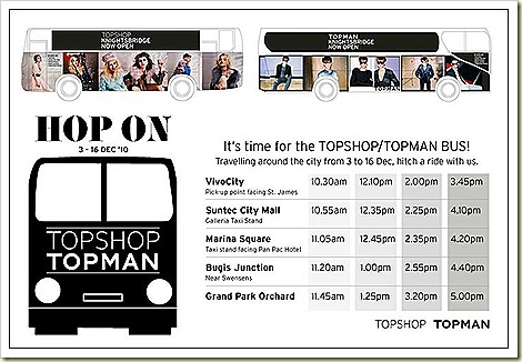 Topshop Topman Knightsbidge Singapore Christmas Bus