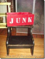 Junk box and black step stool