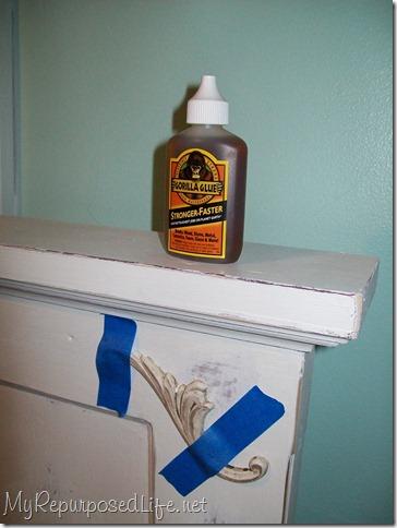glue wooden appliques to door headboard